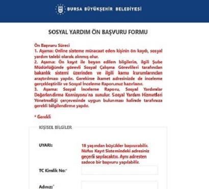 Bursa Büyükşehir Belediyesi Yardım